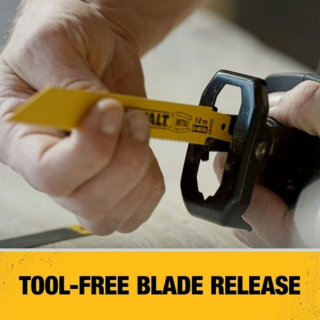 Tool free blade release allows for quick and easy blade changes