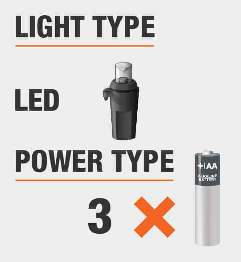 Lights are LED and this product is powered by batteries