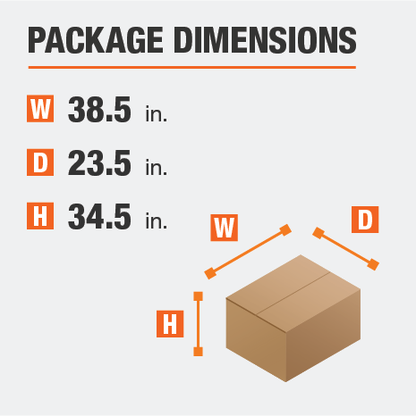 Delivers in 1 Package with the Dimensions of 38.5 inches wide, 23.5 inches deep, 34.5 inches high.