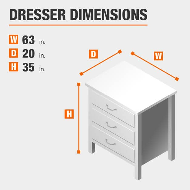 Dresser Dimensions of 63 inches wide, 20 inches deep, 35 inches high.