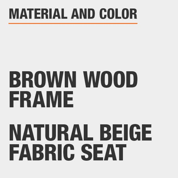 Natural Beige Fabric Seat Brown Wood Frame Upholstered Dining Chair Set