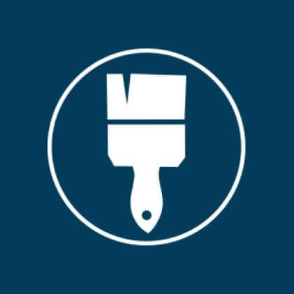 Icon of paintbrush to indicate that Moda doors are primed or unfinished so you can paint or stain as desired