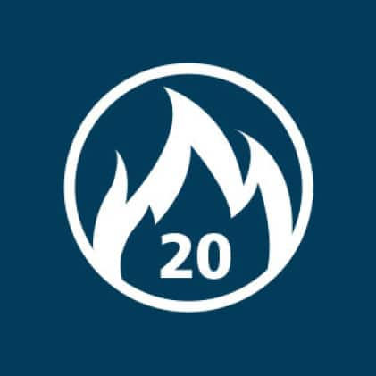 Fire rated symbol with 20 minutes indicated