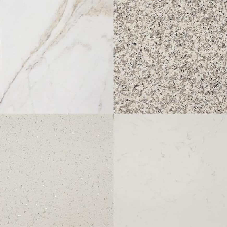 A graphic showing the various colors available for the vanity top collection.
