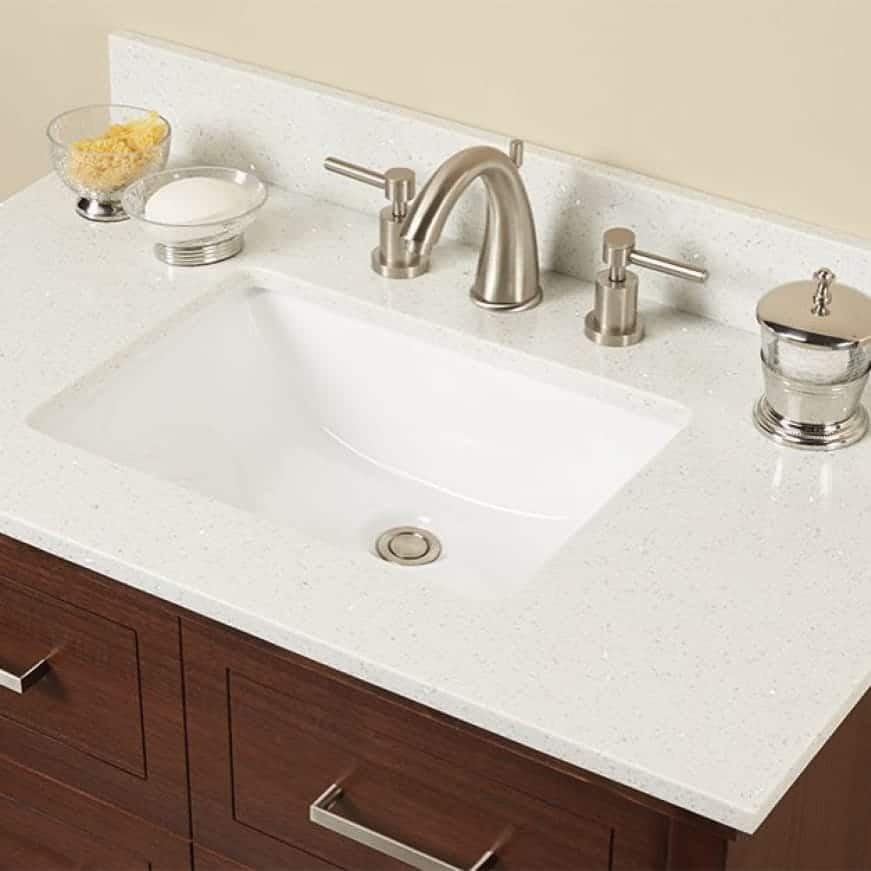A lifestyle image showing the on-trend design with white bathroom vanity.