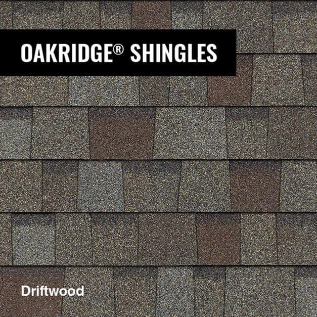 Close up of Owens Corning Oakridge shingle in Driftwood