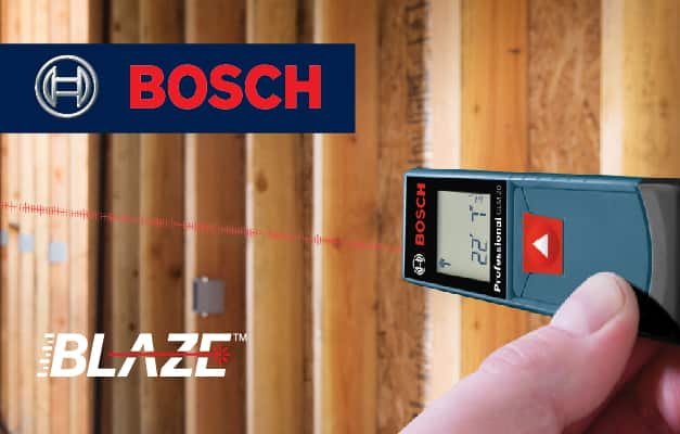 Bosch GLM 20 X projecting straight line for wall measurement.