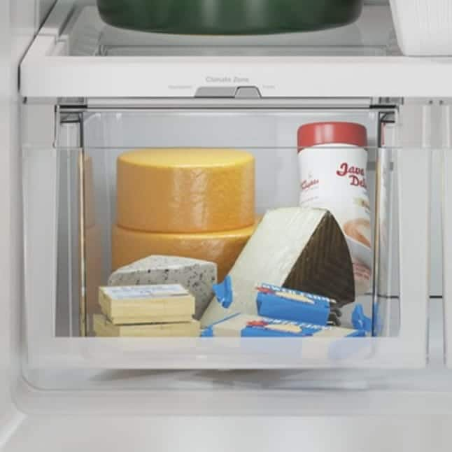 Cheeses are kept at the perfect humidity inside the crisper drawer