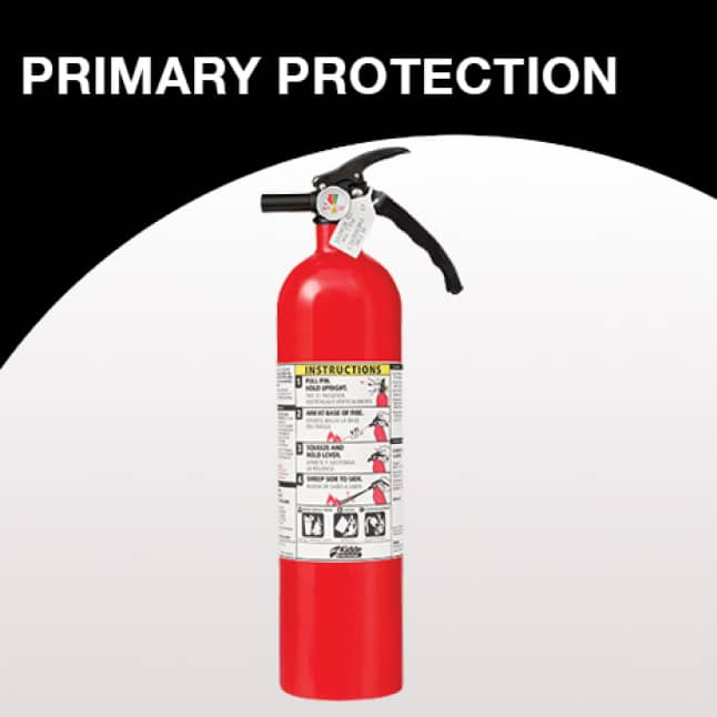 One 2-A:10-B:C fire extinguisher is recommended per level of home