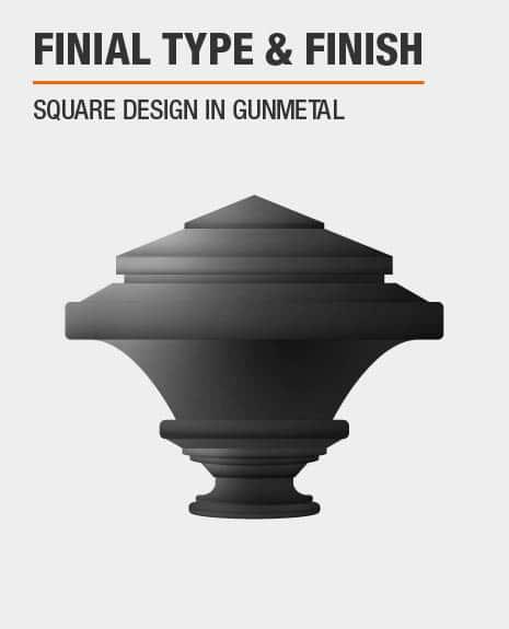 Gunmetal Square Curtain Rod Finial