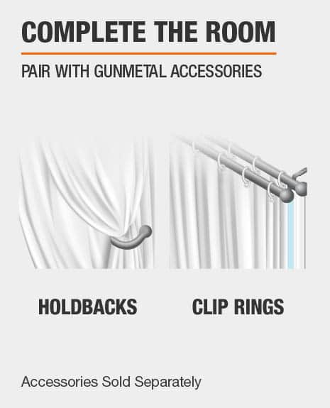 Match with Curtain Rod Clip Rings and Curtain Holdbacks