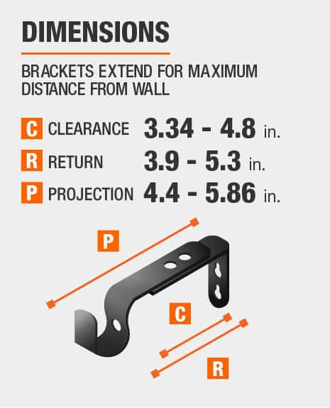 Curtain Rod Brackets extend for maximum distance from wall, max 4.8 inches