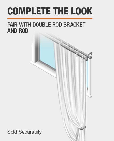Pair with double curtain rod brackets and curtain rod for a complete look