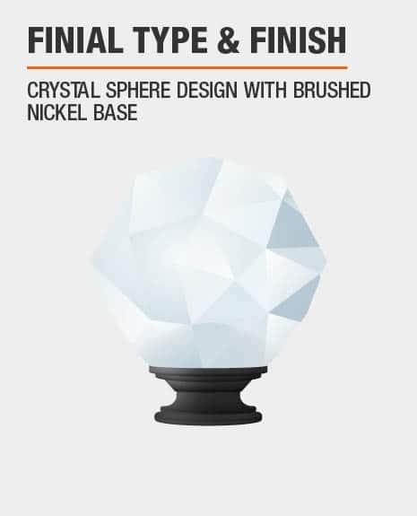 Brushed Nickel Crystal Sphere Curtain Rod Finial