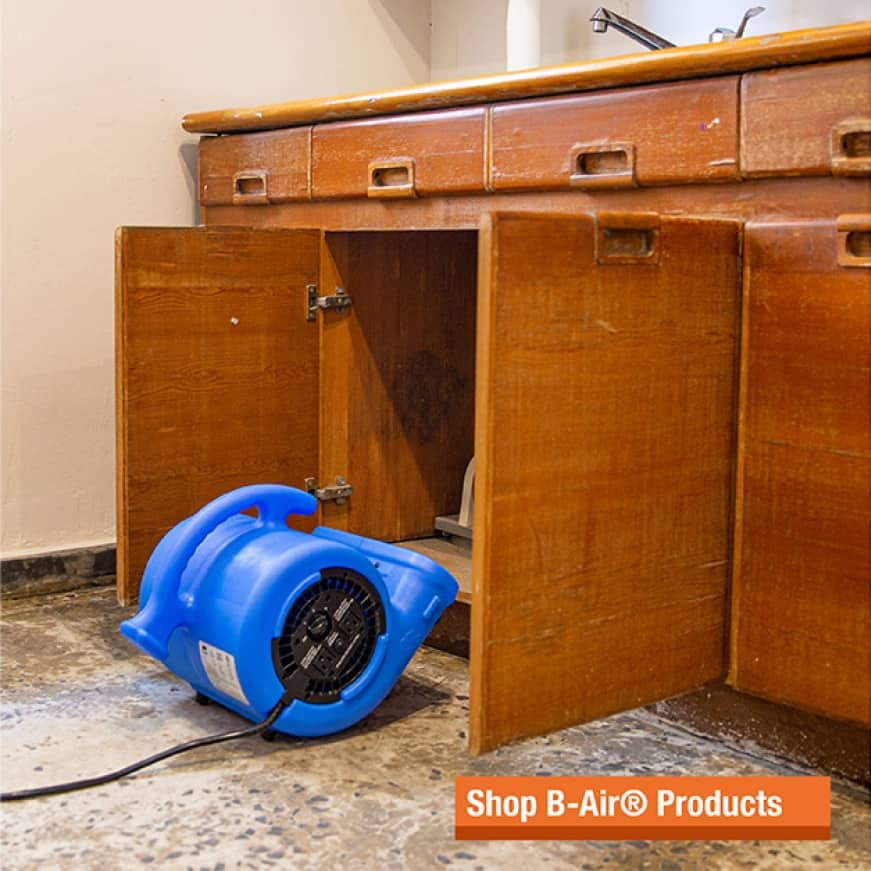 Ideal use as a floor fan in residential settings and as an air mover in janitorial water damage environments.