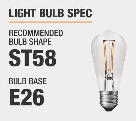 Recommended Bulb Shape: ST58, Recommended Bulb Base: E26