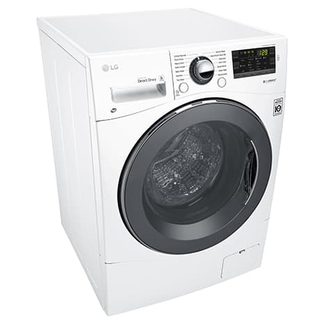 White LG washing machine against a white background