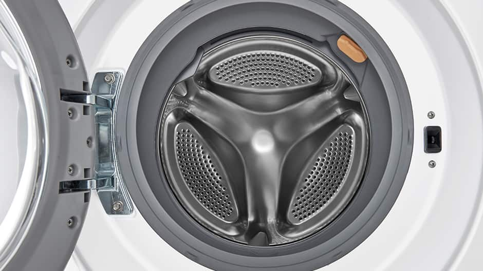 A close up shot into the interior of an LG Compact Washing Machine