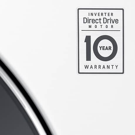 Close up of the sticker on LG washing machines that says INVERTER Direct Drive MOTOR 10 YEAR WARRANTY