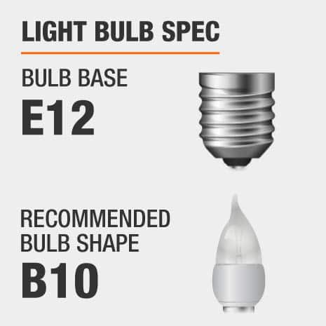 This chandelier requires a E12 bulb base, and a B10-shaped light bulb is recommended.