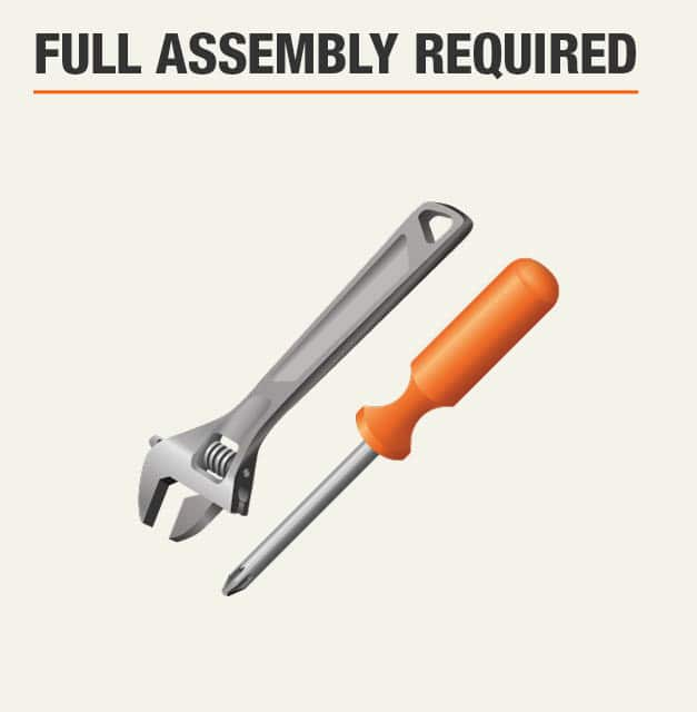 Full assembly required for garage workbench
