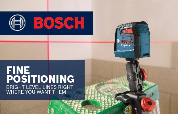 Bosch GLL 30 S clipped and locked onto ladder for secure height adjustment and precision leveling.