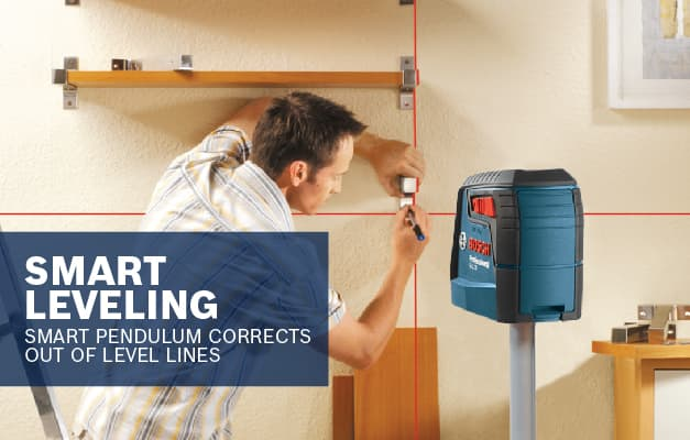 Bosch GLL 30 S using Smart Pendulum System with level lock to ensure levelled lines on wall.