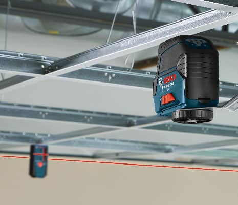 Bosch GCL 2-160 S using receiver for tray ceiling installation.