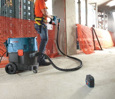 Bosch GCL 2-10 S being used on jobsite for horizontal leveling on concrete.