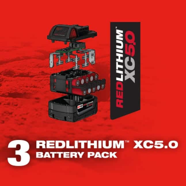 Graphic of the parts of a Milwaukee REDLITHIUM XC5.0 Battery Pack