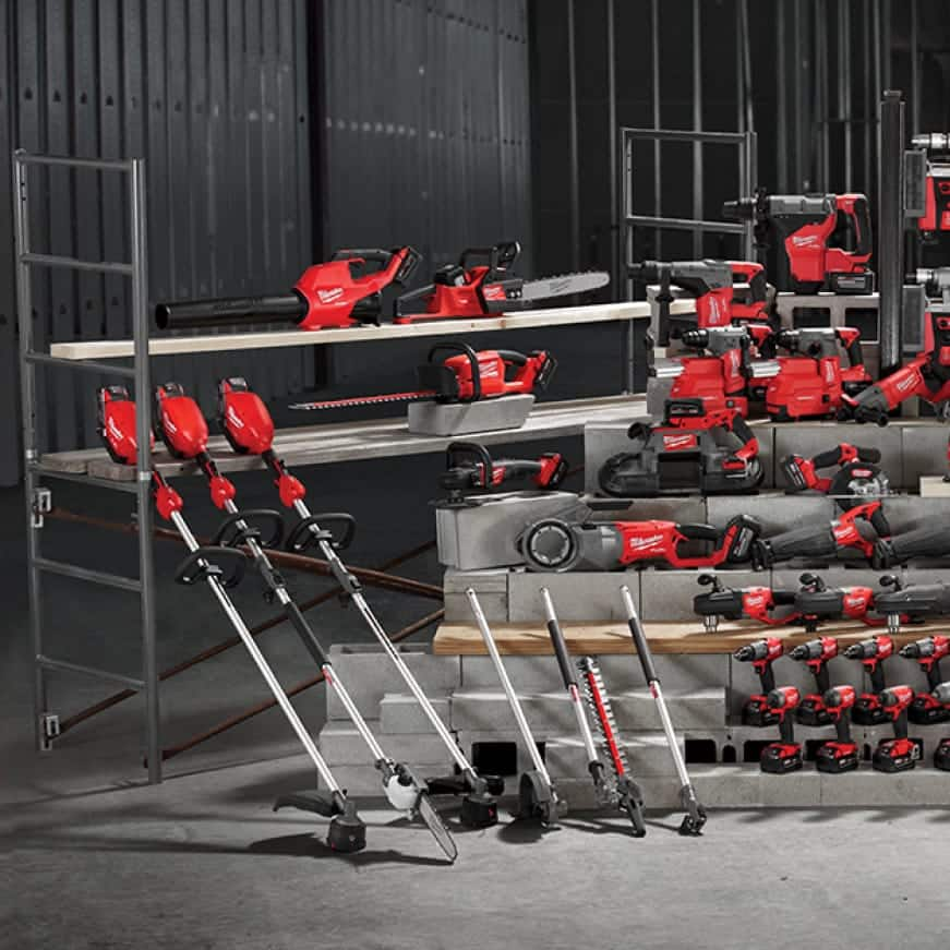A wide selection of M18 FUEL cordless tools and solutions lined up