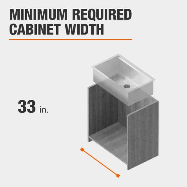 Minimum Required Cabinet Width is 33 inches