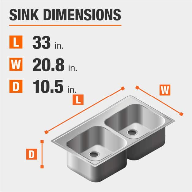 Sink Dimensions Width=20.8 inches Length=33 inches Depth=10.5 inches