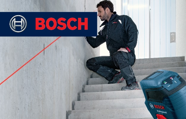 Bosch GLL 50 projecting angled line on wall for stair railing.