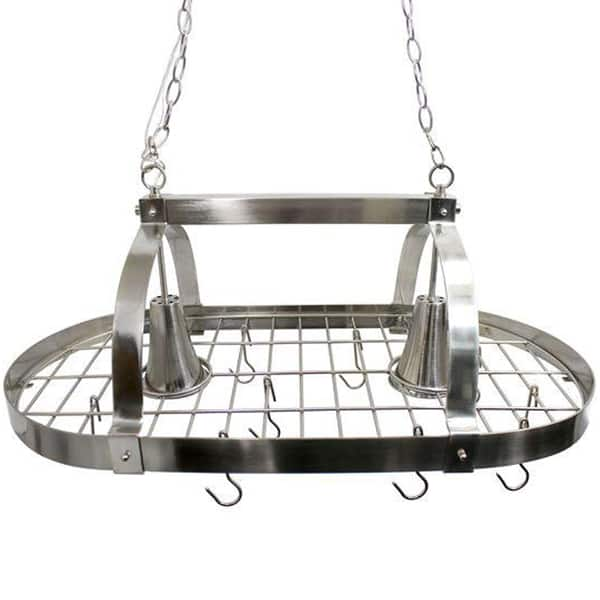 Pot rack supported by chains that are adjustable in length
