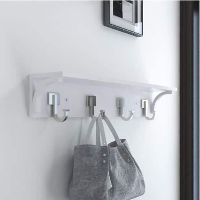 White Wooden Hook Rack, Four Hooks, Purse Storage