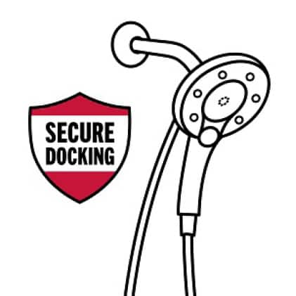 """Image is a black and white icon of an In2ition hand shower/showerhead with shield symbol and copy """"Secure Docking"""""""
