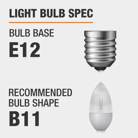 This chandelier requires a E12 bulb base, and a B11-shaped light bulb is recommended.