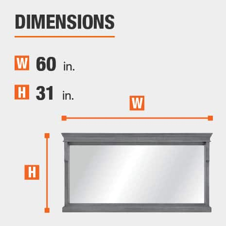 The dimensions of this bathroom vanity mirror are 60 in. W x 31.00 in. H