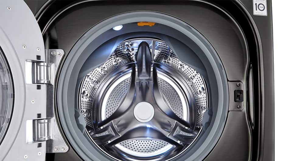 A close up shot into the interior of an LG large capacity front load washer