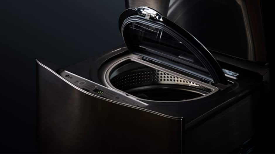LG SideKick Pedestal Washing Machine with lid open