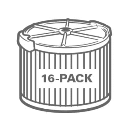 Buy more and save. Significant savings when purchasing the 16-Pack.