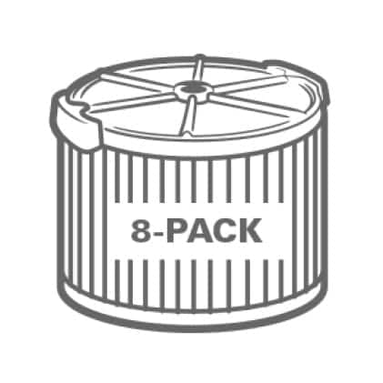 Buy more and save. Significant savings when purchasing the 8-Pack.