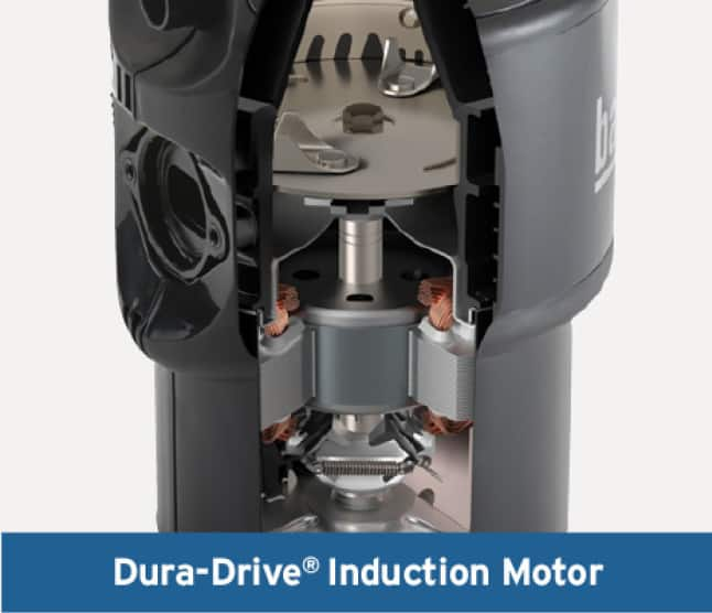 Garbage disposal cutaway closeup of internal components