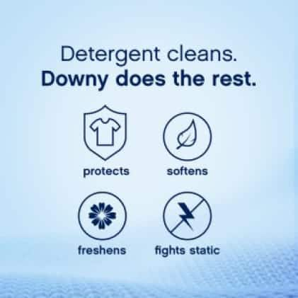 Tide detergent cleans. Downy does the rest. Soften, freshen , protect and fight static when you add Downy to your load.