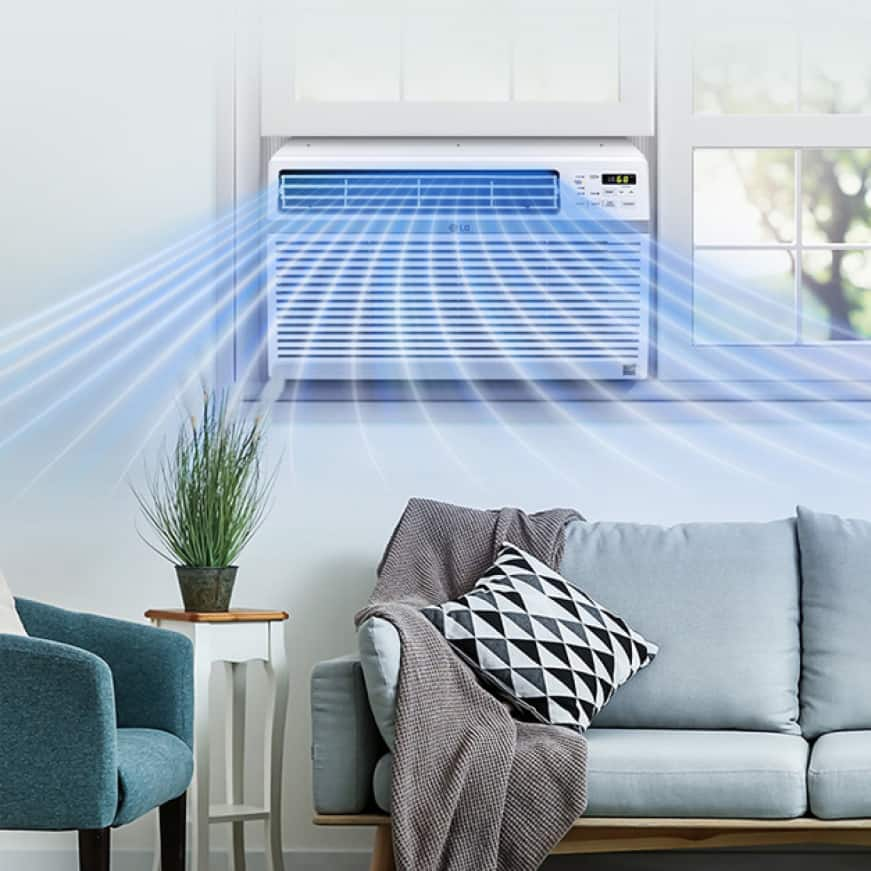 Room with sofa and window air conditioner showing air flow