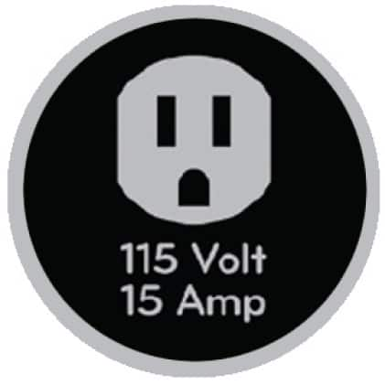 Icon of 115-volt outlet that says 115 volt, 15 amp