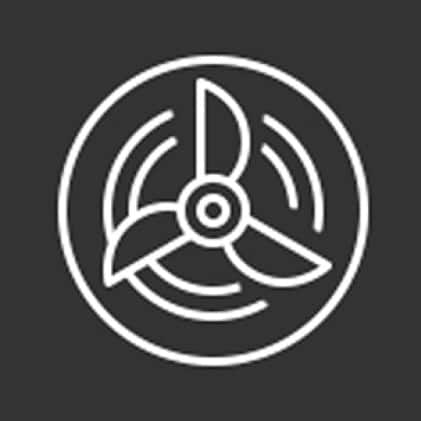 Icon of fan representing multiple fan speeds