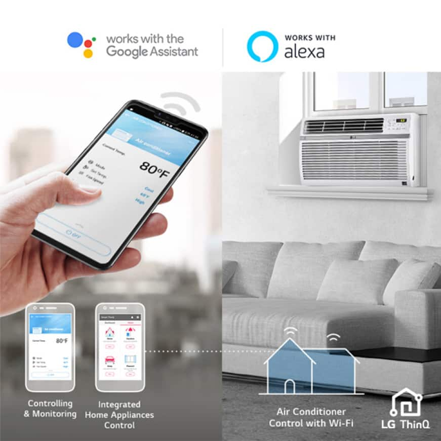 Image of a room with a window air conditioner, woman's hand holding smartphone using LG ThinQ app, Google Assistant and Alexa logos