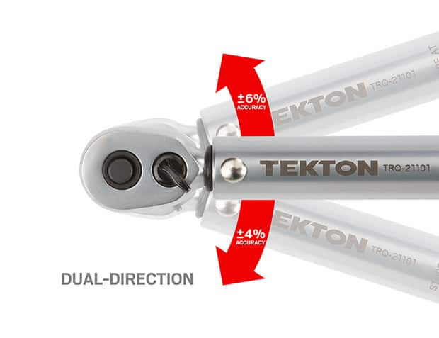 Close-up image of dual direction on TEKTON wrench